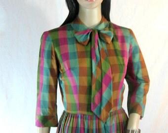 1950's SILK DRESS Plaid Bow Schoolgirl S