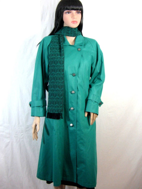 LONDON FOG TRENCHCOAT with Scarf 1970s teal green