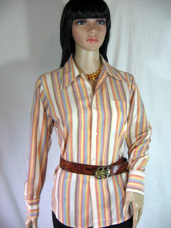 1970s Rockabilly STRIPED SHIRT by The PUT ON SHOP xsmall small