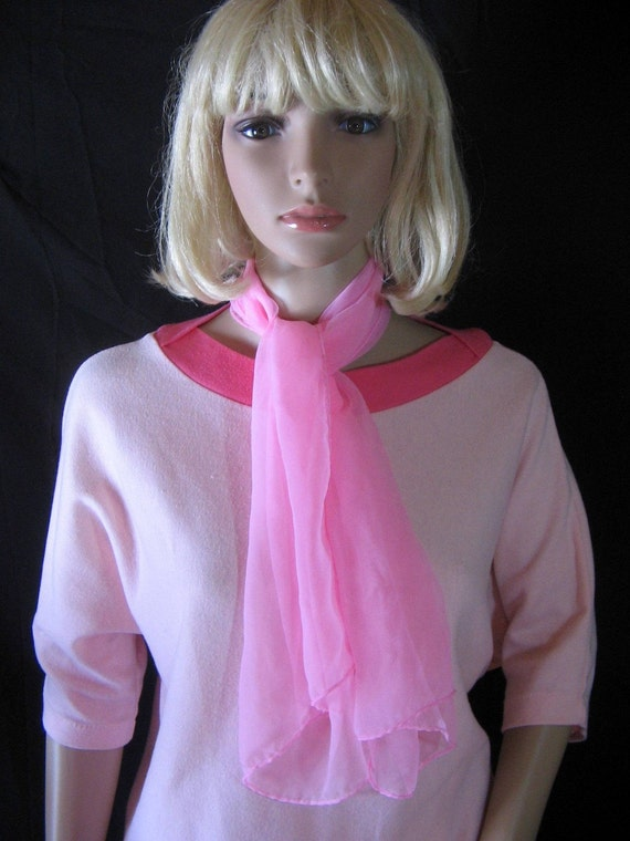 """Cotton Candy PINK SCARF soft sheer nylon16"""" x 40"""""""