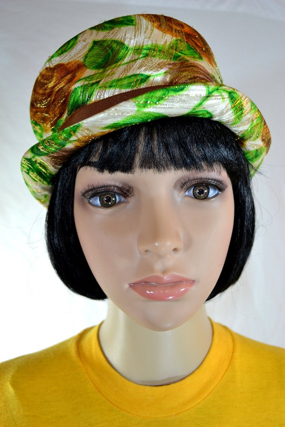 1940's TOP HAT Green & Brown Sparkly Floral size medium 21