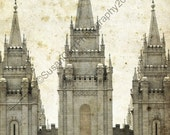 Distressed LDS SLC Temple Custom Print