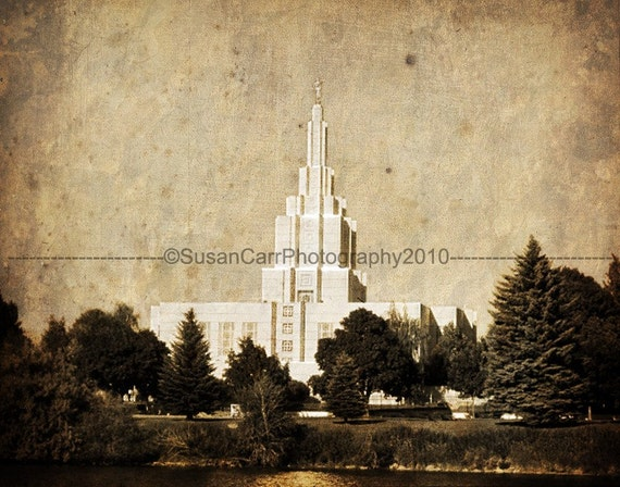 Distressed LDS Idaho Falls Temple Custom Print