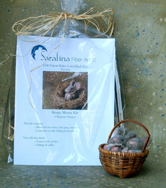 Reserved for Robin - Needle Felted Sleepy Mice Kit