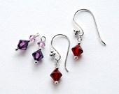 Interchangeable earrings -  2 sets of Swarovski drops on Sterling Silver in Garnet and Amethyst