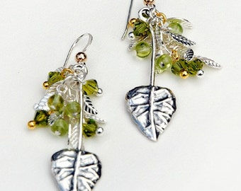 Sterling Silver Leaves with Peridot, gold and Swarovski cluster earrings