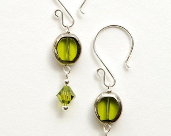 Green Glass Cathedral bead with Swarovski crystal on Sterling Silver earwires