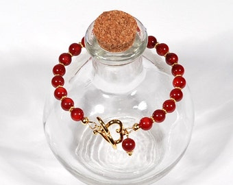 Red Coral and Gold Heart toggle bracelet