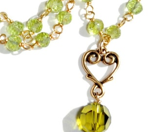 Peridot gold chain with Olivine Swarovki and gold heart pendant