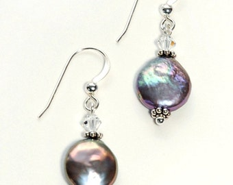 Peacock Coin pearls with Swarovski crystals on Sterling Silver ear wires