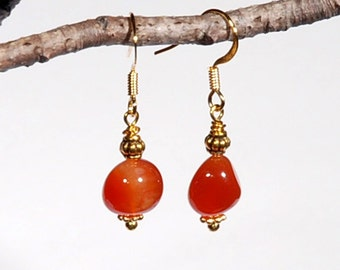 Carnelian and Gold French hook earrings with Bali brass accents