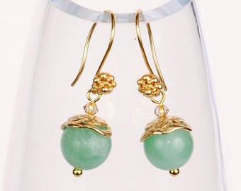 Seafoam green Amazonite with gold and Swarovski earrings