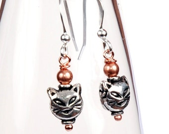 Cute Cat face earrings in Copper and Sterling Silver