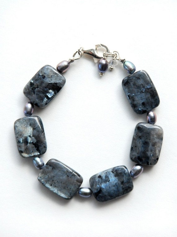 Black Labradorite with silver pearl and Sterling silver bracelet