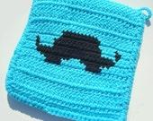 CLEARANCE Blue Mustache Potholder, Black Moustache, Mustache Silhouette, Blue Potholder, Pot Holder, Hot pad