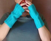 Turquoise Blue Fingerless Gloves for Men or Women, Crochet, Crocheted Fingerless Gloves, Arm Warmers, Wrist Warmers, Fingerless Mittens