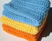 Three Cotton Dishcloths - Blue, Yellow, Orange Dishcloths - Crochet, Crocheted Dishcloths, Dish Cloths