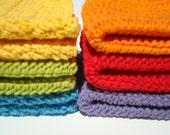 6 Cotton Dishcloths - Rainbow: Red, Orange, Yellow, Green, Blue, Violet (Purple) - Crochet Dishcloths, Dish Cloths Set of Six