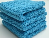 Three Cotton Dishcloths - Turquoise Blue Crochet, Crocheted Dishcloths, Dish Cloths - Kitchen, Bathroom - Ready To Ship