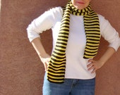 Yellow and Black Striped Scarf  - Bee Scarf - Black and Yellow Stripe Scarf - Hoooked Scarves - Long Scarf for Men or Women - Ready To Ship
