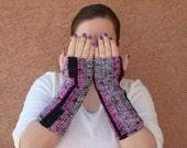 Surprize Stripes Fingerless Gloves in Pink Black and Grey for Women - Crochet, Striped Fingerless Gloves, Arm Warmers, Wrist Warmers