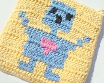 CLEARANCE Boy Robot Potholder - Yellow Crochet Pot holder - Hoooked - Ready To Ship
