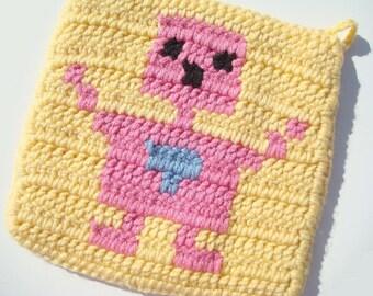CLEARANCE Girl Robot Potholder - Crochet Potholder - Yellow Potholder - Hoooked Pot Holder - Ready To Ship