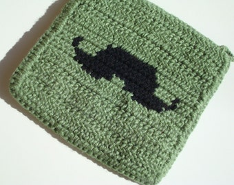 CLEARANCE Sage Green Mustache Potholder - Black Silhouette Mustache - Crochet Potholder - Pot Holder - Hotpad - Hot Pad - Ready To Ship