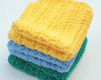 Three Cotton Crochet, Crocheted Washcloths - Blue, Yellow, Green Dishcloths, Wash Cloths - Dish Cloths - Ready To Ship Housewarming Present