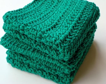 Three Cotton Wash Cloths - St. Patrick's Day Green Dishcloths, Dish Cloths -  Crochet, Crocheted Washcloths, Dish Cloths, Washcloths