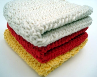 Three Cotton Dishcloths - Red, Natural White, Yellow Crochet Dishcloths, Dish Cloths - Crochet, Crocheted Dishcloths, Dish Cloths - Hoooked