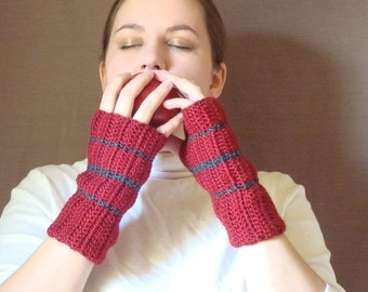 Charcoal Grey and Dark Red Fingerless Gloves for Men or Women - Striped Fingerless Gloves - Stripe Crochet Fingerless Gloves MADE TO ORDER