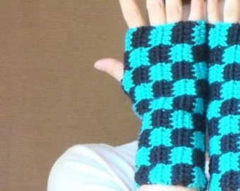 Turquoise Blue and Black Checkered Fingerless Gloves for Men or Women, Unisex Adults, Arm Warmers - Fingerless Mittens - Mitts MADE TO ORDER