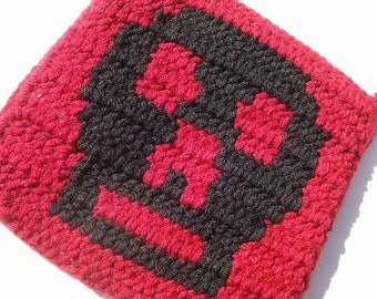 CLEARANCE Skull Potholder - Red and Black Potholder - Crochet Potholder, Pot Holder, Hot Pad, Trivet - Dark Kitchen Decor - Ready To Ship