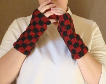 Checkered Black and Red Fingerless Gloves for Men or Women - Crochet Wrist Warmers, Arm Warmers, Fingerless Mittens - Checkers MADE TO ORDER
