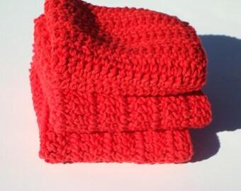 Red Washcloths - Three Cotton Dishcloths - Crochet, Crocheted Wash Cloths, Dish Cloths -  Kitchen, Home Decor - Ready To Ship
