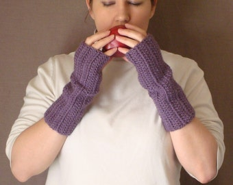 Dusty Purple Fingerless Gloves for Women - Crochet, Crocheted, Violet Fingerless Gloves, Wrist Warmers, Arm Warmers, Fingerless Mittens
