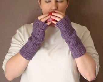 Dusty Purple Fingerless Gloves for Women - Crochet, Crocheted, Violet Fingerless Gloves, Wrist Warmers, Arm Warmers, Fingerless Mittens
