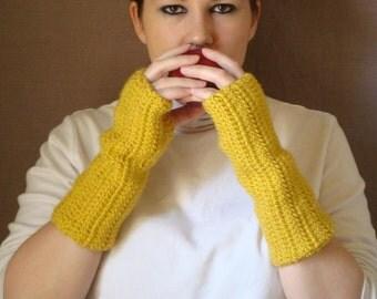 Fingerless Gloves - Mustard Yellow Fingerless Gloves - Crochet Arm Warmers - Crochet Fingerless Mittens - Yellow Arm Warmers - Wrist Warmers