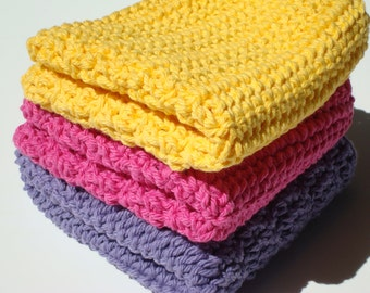 Three Cotton Dishcloths: Yellow, Purple and Hot Pink Dishcloths - Crocheted, Crochet Dishcloths, Dish Cloths for the Kitchen, Home Decor