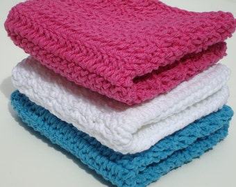 Three Cotton Washcloths - Bright White, Blue, Pink Dishcloths, Dish Cloths - Crochet, Crocheted Wash Cloth, washcloth - Home, Kitchen
