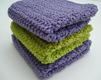 Three Cotton Washcloth, Dishcloth, Green and Purple Crochet, Crocheted Wash Cloth, Dish Cloth - Housewarming Gift - Kitchen Decor Present