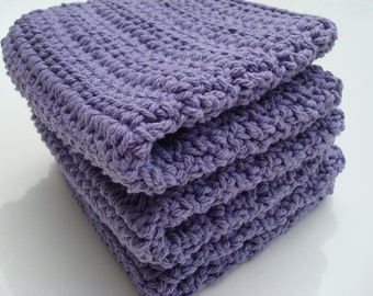 Three Cotton Washcloths - Purple Dishcloths - Crochet, Crocheted Wash Cloths, Dish Cloths - Lavender Purple, Bath Face Cloth, Christmas Gift