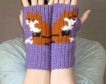 Fox Fingerless Gloves - Plum Heather Purple Fingerless Gloves for Women - Purple Orange Crochet Fingerless Gloves, Arm warmers MADE TO ORDER