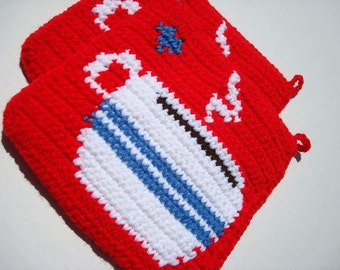 Patriotic Red, White, and Blue Coffee Potholders. Crochet Coffee Cup Pot Holders, Hotpads, Hot Pads, Trivet Set of Two MADE TO ORDER
