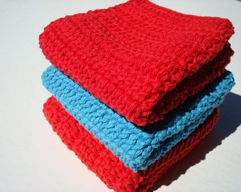 Three Cotton Washcloth, Dishcloth - Red and Blue Cotton Wash Cloth, Dish Cloth - Crochet, Crocheted for Kitchen or Bathroom, Housewarming