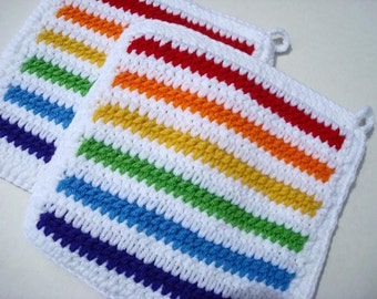 Rainbow Stripes Potholders - Striped Rainbow with White Crochet Pot Holders for Kitchen Housewarming, Hostesss Gift MADE TO ORDER