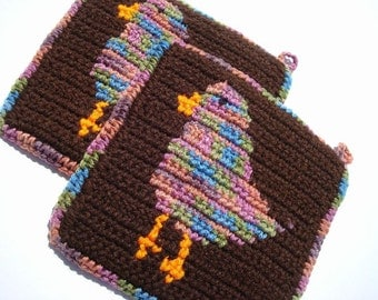 Brown Potholders with Multicolor Fat Bird - Bird Potholders - Crochet Potholders, Pot Holders, Hot Pads, Hotpads, Trivet Set - Home Decor