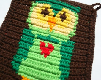 Green Owl Potholder, Brown Crochet, Crocheted, Pot Holder, Potholder, Hot Pad from Hoooked
