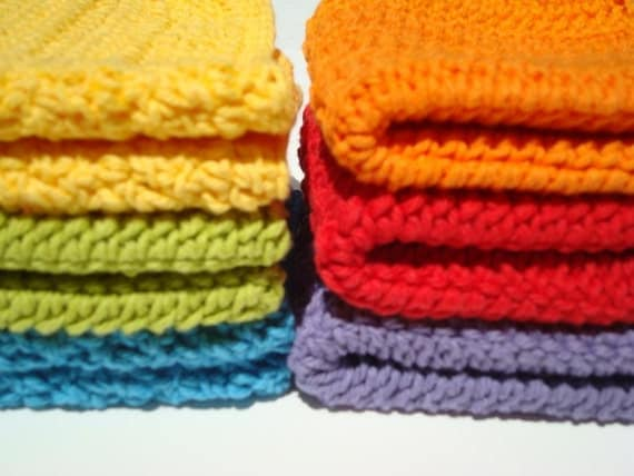 6 Cotton Dishcloths - Rainbow: Red, Orange, Yellow, Green, Blue, Violet (Purple) - Crochet Dishcloths, Dish Cloths Set of Six